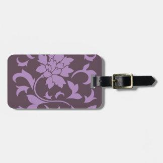 Oriental Flower - Lilac & Cherry Chocolate Luggage Tag