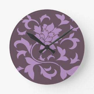 Oriental Flower - Lilac & Cherry Chocolate Round Clock