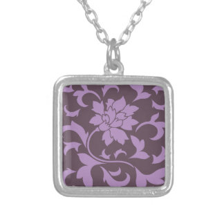 Oriental Flower - Lilac & Cherry Chocolate Silver Plated Necklace