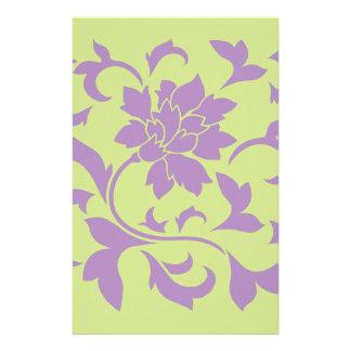 Oriental Flower - Lilac & Daiquiri Green Stationery
