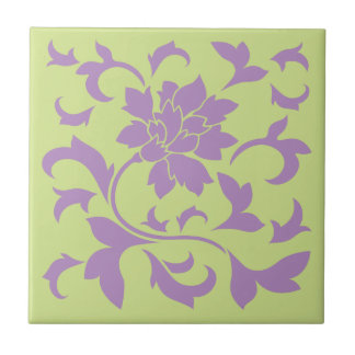 Oriental Flower - Lilac & Daiquiri Green Tile