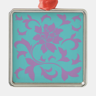 Oriental Flower - Lilac Mint Metal Ornament