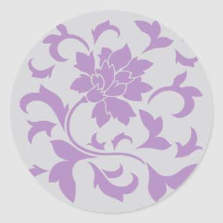 Oriental Flower - Lilac Silver Classic Round Sticker
