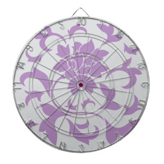 Oriental Flower - Lilac Silver Dartboard With Darts