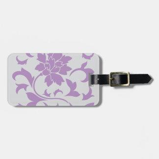 Oriental Flower - Lilac Silver Luggage Tag