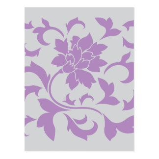 Oriental Flower - Lilac Silver Postcard