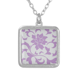 Oriental Flower - Lilac Silver Silver Plated Necklace