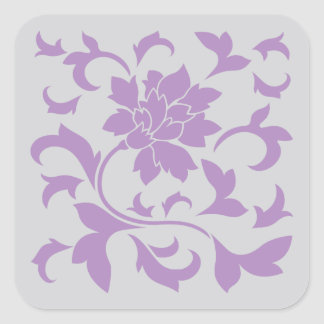 Oriental Flower - Lilac Silver Square Sticker