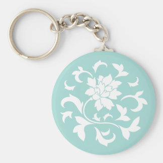 Oriental Flower - Limpet Shell Basic Round Button Key Ring