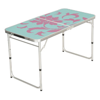 Oriental Flower - Limpet Shell Circular Beer Pong Table