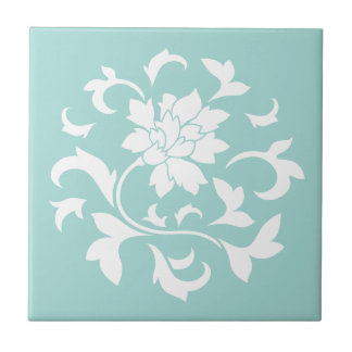 Oriental Flower - Limpet Shell Circular Pattern Small Square Tile