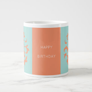Oriental Flower-Limpet Shell-Happy Birthday-Orange Giant Coffee Mug