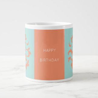 Oriental Flower-Limpet Shell-Happy Birthday-Orange Large Coffee Mug