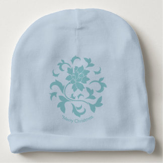Oriental Flower-Limpet Shell-Merry Christmas-Blue Baby Beanie
