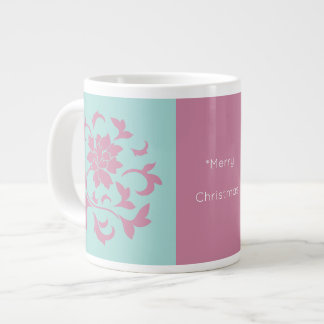 Oriental Flower-Limpet Shell-Merry Christmas-Pink Large Coffee Mug