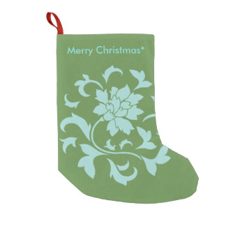 Oriental Flower - Merry Christmas - Green Small Christmas Stocking