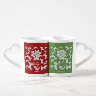 Oriental Flower - Merry Christmas - Red&Green Coffee Mug Set