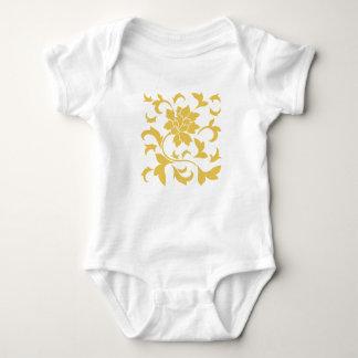 Oriental Flower - Mustard Yellow Baby Bodysuit