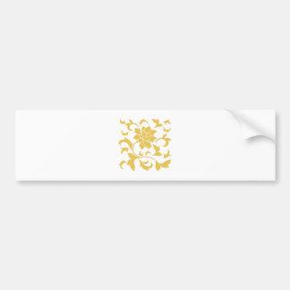 Oriental Flower - Mustard Yellow Bumper Sticker