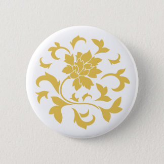 Oriental Flower - Mustard Yellow Circular Pattern 6 Cm Round Badge