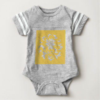 Oriental Flower - Mustard Yellow Circular Pattern Baby Bodysuit