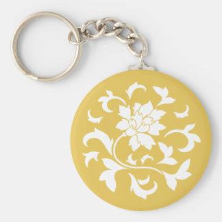 Oriental Flower - Mustard Yellow Circular Pattern Basic Round Button Key Ring