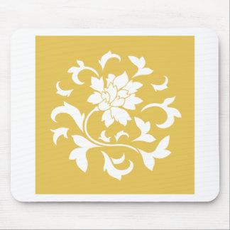 Oriental Flower - Mustard Yellow Circular Pattern Mouse Pad