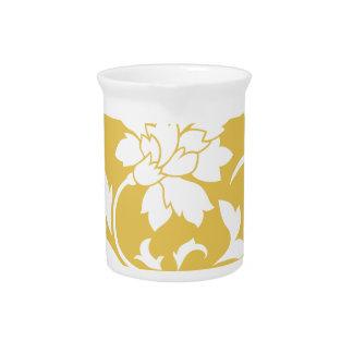 Oriental Flower - Mustard Yellow Circular Pattern Pitcher