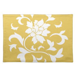Oriental Flower - Mustard Yellow Circular Pattern Placemat