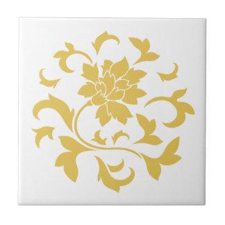 Oriental Flower - Mustard Yellow Circular Pattern Small Square Tile