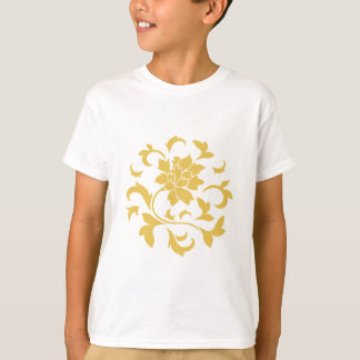 Oriental Flower - Mustard Yellow Circular Pattern T-Shirt