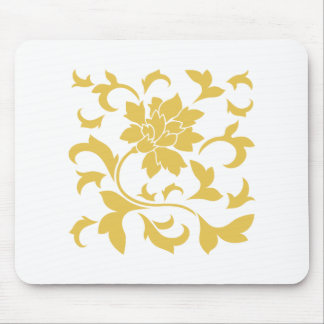 Oriental Flower - Mustard Yellow Mouse Pad