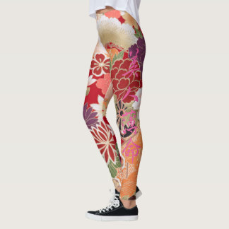 Oriental Flower Print Leggings
