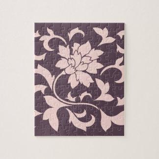 Oriental Flower - Rose Quartz & Cherry Chocolate Jigsaw Puzzle