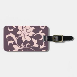 Oriental Flower - Rose Quartz & Cherry Chocolate Luggage Tag