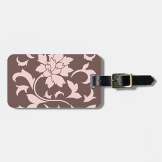 Oriental Flower - Rose Quartz & Chocolate Luggage Tag