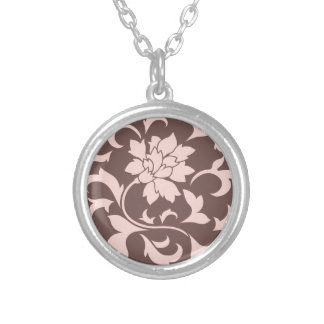 Oriental Flower - Rose Quartz & Chocolate Silver Plated Necklace