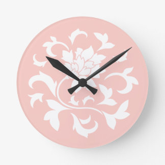 Oriental Flower - Rose Quartz Circular Pattern Round Clock