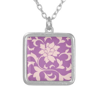 Oriental Flower - Rose Quartz & Radiant Orchid Silver Plated Necklace