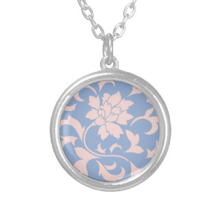 Oriental Flower - Rose Quartz & Serenity Blue Silver Plated Necklace
