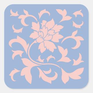 Oriental Flower - Rose Quartz & Serenity Blue Square Sticker