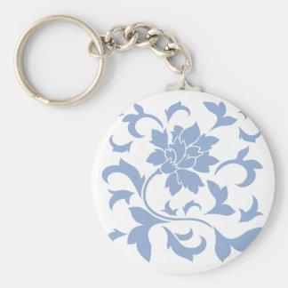 Oriental Flower - Serenity Blue Basic Round Button Key Ring