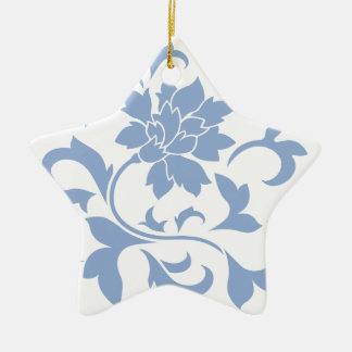 Oriental Flower - Serenity Blue Ceramic Ornament
