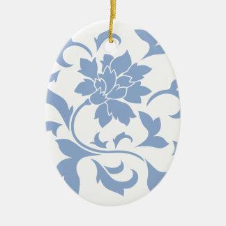 Oriental Flower - Serenity Blue Ceramic Oval Decoration