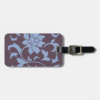 Oriental Flower - Serenity Blue & Cherry Chocolate Luggage Tag