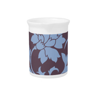 Oriental Flower - Serenity Blue & Cherry Chocolate Pitcher