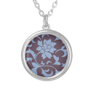 Oriental Flower - Serenity Blue & Cherry Chocolate Silver Plated Necklace