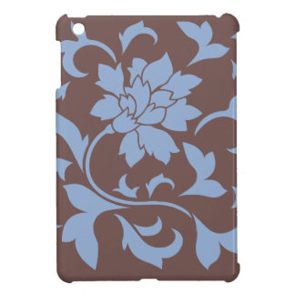 Oriental Flower - Serenity Blue & Chocolate Cover For The iPad Mini
