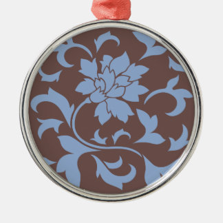Oriental Flower - Serenity Blue & Chocolate Metal Ornament