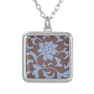 Oriental Flower - Serenity Blue & Chocolate Silver Plated Necklace